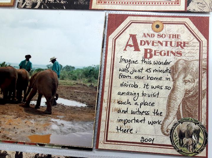 Sheldrick Elephant Orphanage Pocket Scrapbooking Page, Safari Adventures, by Einat Kessler, Product by Graphic 45, photo 6
