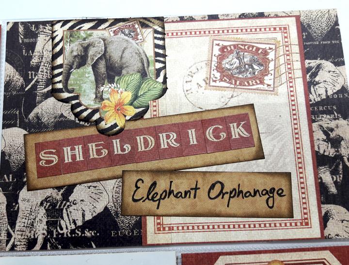 Sheldrick Elephant Orphanage Pocket Scrapbooking Page, Safari Adventures, by Einat Kessler, Product by Graphic 45, photo 4