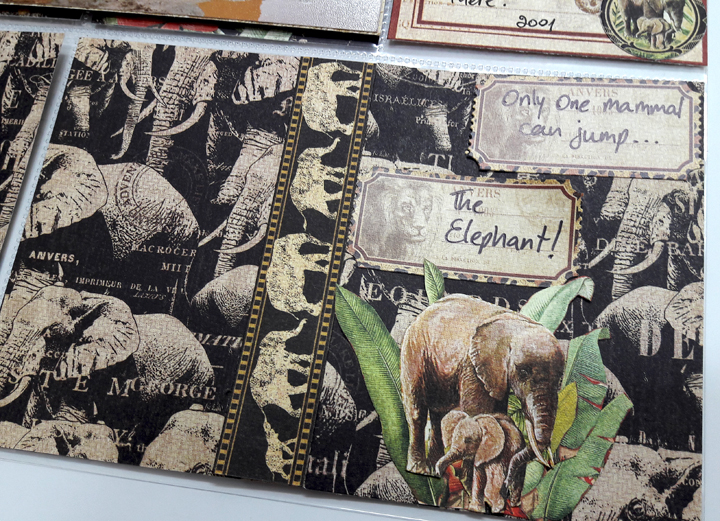 Sheldrick Elephant Orphanage Pocket Scrapbooking Page, Safari Adventures, by Einat Kessler, Product by Graphic 45, photo 1