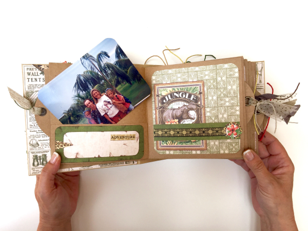 Square Tag&Pocket Travel Album Safari Adventure Tutorial by Marina Blaukitchen Product by Graphic 45 photo 13