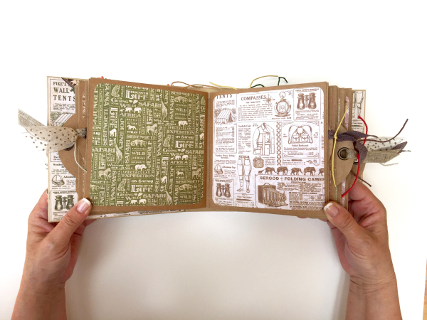 Square Tag&Pocket Travel Album Safari Adventure Tutorial by Marina Blaukitchen Product by Graphic 45 photo 17