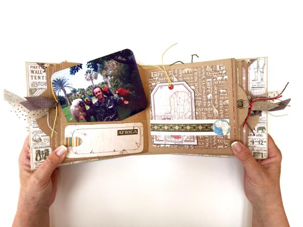 Square Tag&Pocket Travel Album Safari Adventure Tutorial by Marina Blaukitchen Product by Graphic 45 photo 19