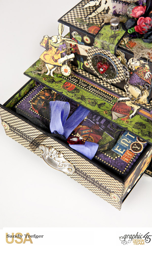 Curiouser Curiouser Trinket Box, Halloween in Wonderland, Tutorial by Sandy Trefger, Product by Graphic 45, Photo 004