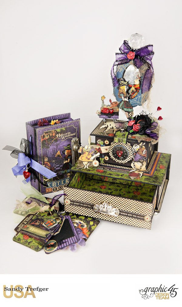 Curiouser Curiouser Trinket Box, Halloween in Wonderland, Tutorial by Sandy Trefger, Product by Graphic 45, Photo 005