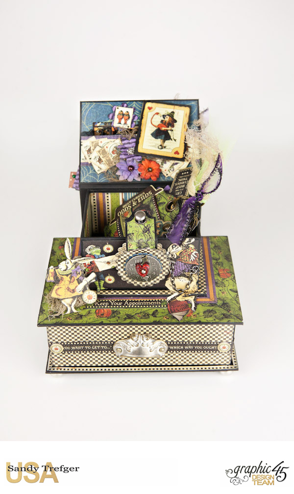Curiouser Curiouser Trinket Box, Halloween in Wonderland, Tutorial by Sandy Trefger, Product by Graphic 45, Photo 12