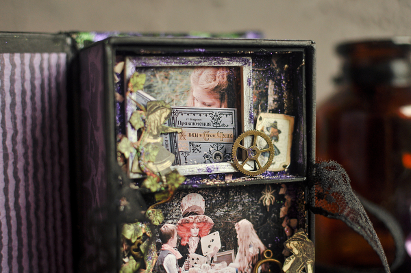 Book Box and mini album-Hallowe'en in Wonderland-Tutorial by Lena Astafeva-products by Graphic 45-Photo-24