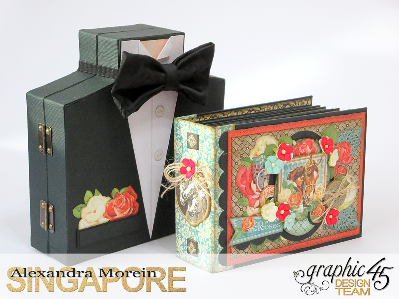 Off to the Races Tuxedo Box and Pop-Up Album, Tutorial by Alexandra Morein, Product by Graphic 45, Photo 4