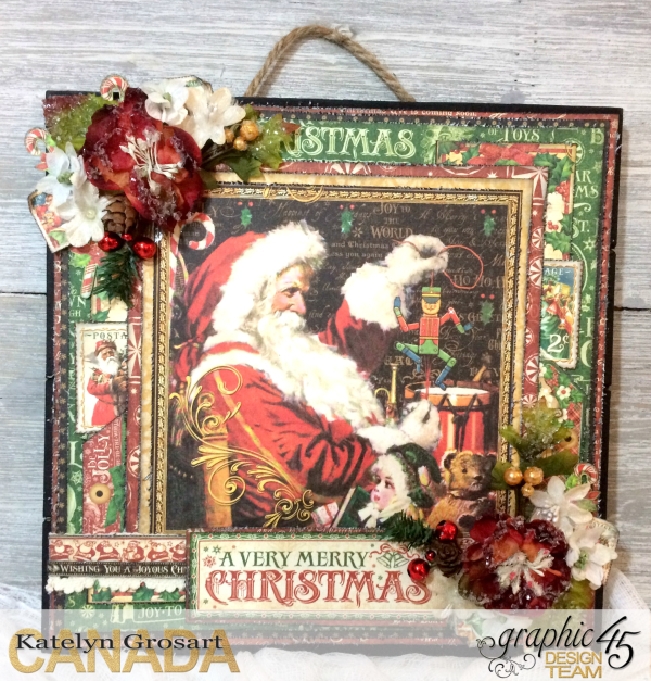 Wall Hanging, St.Nicholas, By Katelyn Grosart, Product by Graphic 45, Petaloo & Xyron, Photo1