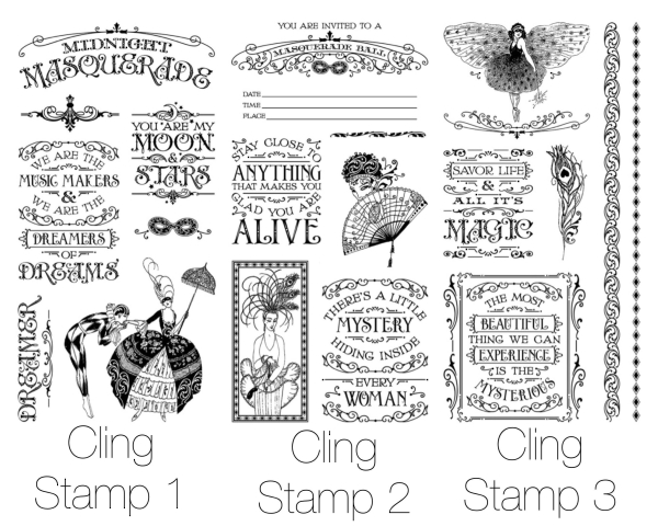 Midnight Masquerade Cling Stamps from Graphic 45 & Hampton Art