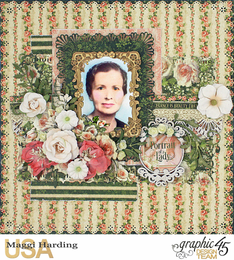 Mema layout, Portrait of a Lady, Maggi Harding, Graphic 45 (1)