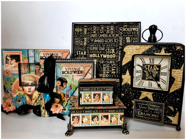 Vintage Hollywood stacked boxes, clock, frame, album and tray by Graphic 45