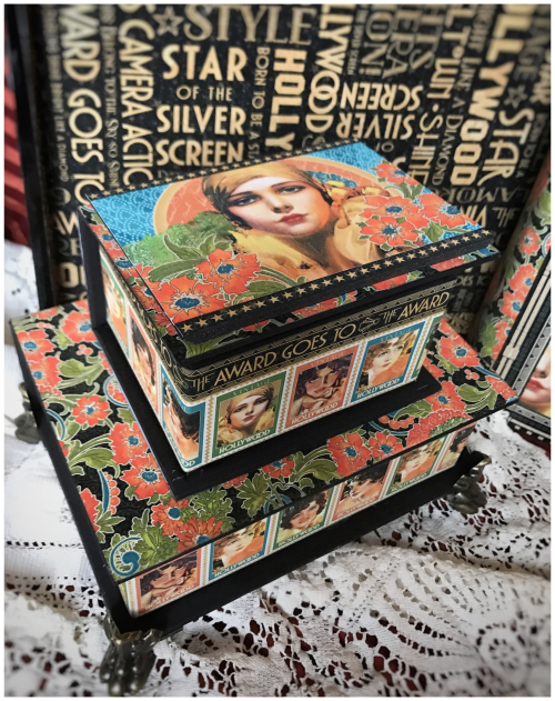 Vintage Hollywood Stacked Book Boxes Graphic 45