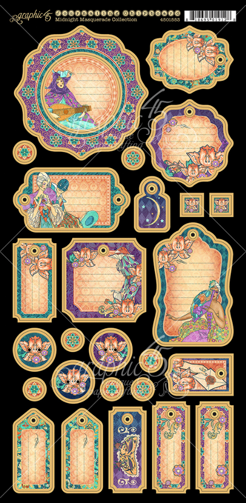Midnight Masquerade Journaling Chipboard