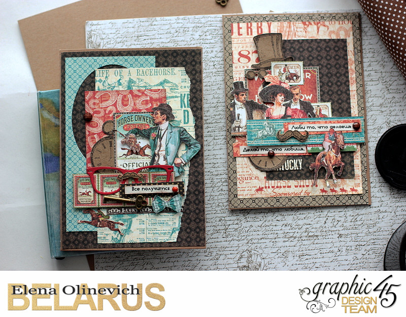 Masculine Valentine Cards, Off to the Races, by Elena Olinevich, product by Graphic45, photo1