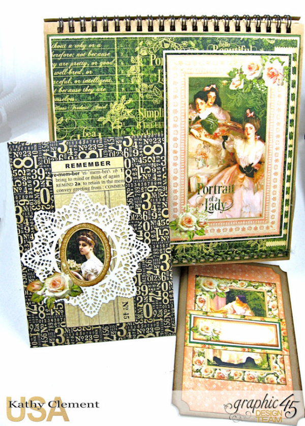 Beauty Easel Album, Portrait of a Lady, by Kathy Clement, Product by Graphic 45, Photo 17