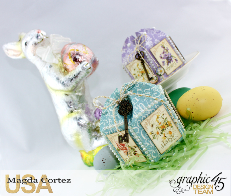Easter Little Treat Boxes - Secret Garden - By Magda Cortez - Product of Graphic 45 - Photo 05 of 06 - Project with Tutorial