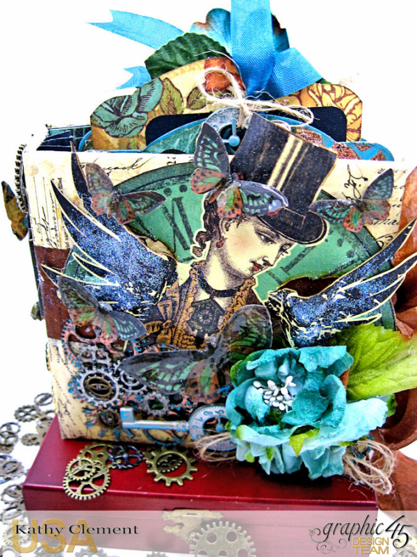 Mixed Media Steampunk Tag Album Tutorial  Steampunk Debutante  by Kathy Clement Product by Graphic 45  Photo 32