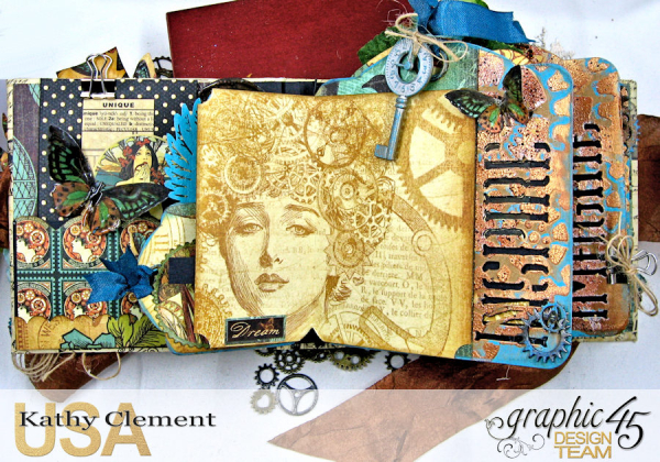 Mixed Media Steampunk Tag Album Tutorial  Steampunk Debutante  by Kathy Clement Product by Graphic 45  Photo 10