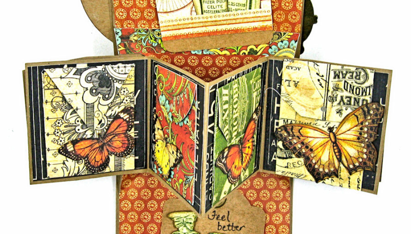 Feeling Run Down Get Well Pop Up Card  Olde Curiosity Shoppe  by Kathy Clement  Product by Graphic 45  Photo 6