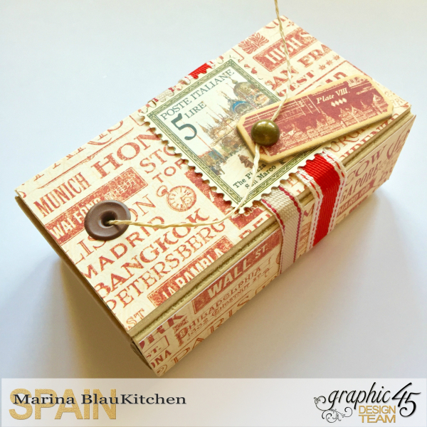 Upcycle Cord Dispenser Box City Scapes Tutorial by Marina Blaukitchen Product by Graphic 45 photo 2