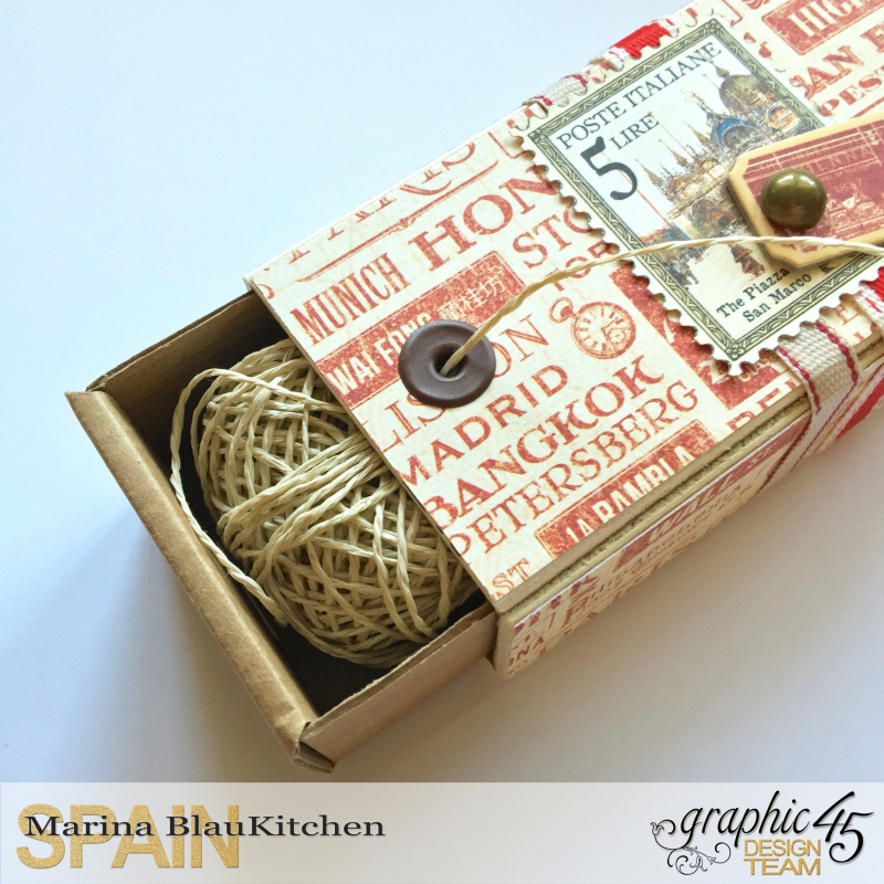 Upcycle Cord Dispenser Box City Scapes Tutorial by Marina Blaukitchen Product by Graphic 45 photo 3
