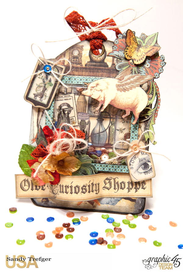 Shaker Tag  Olde Curiosity Shoppe  Tutorial by Sandy Trefger  Product by Graphic 45  Photo 001