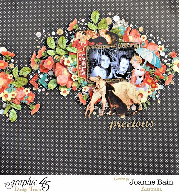 Raining Cats and Dogs  Graphic 45  Layout  Precious  Kids  Joanne Bain  Fussy Cutting  Top Layouts 5