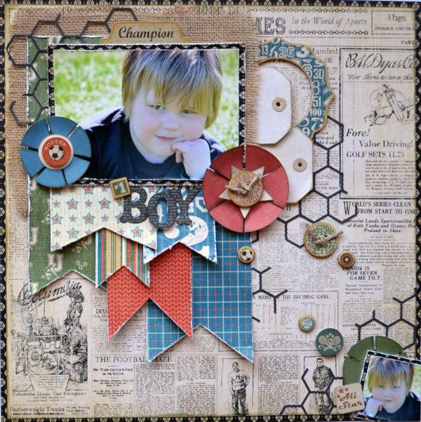 Good Ol Sport  Graphic 45  Layout  Karen Shady  Scrapbook Ideas Magazine  1 Boy  Top Layouts 9