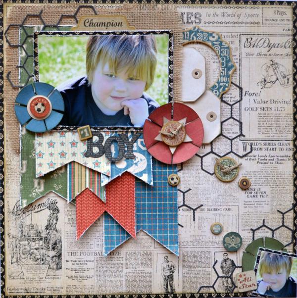 Good Ol Sport  Graphic 45  Layout  Karen Shady  Scrapbook Ideas Magazine  1 Boy  Top Layouts 9