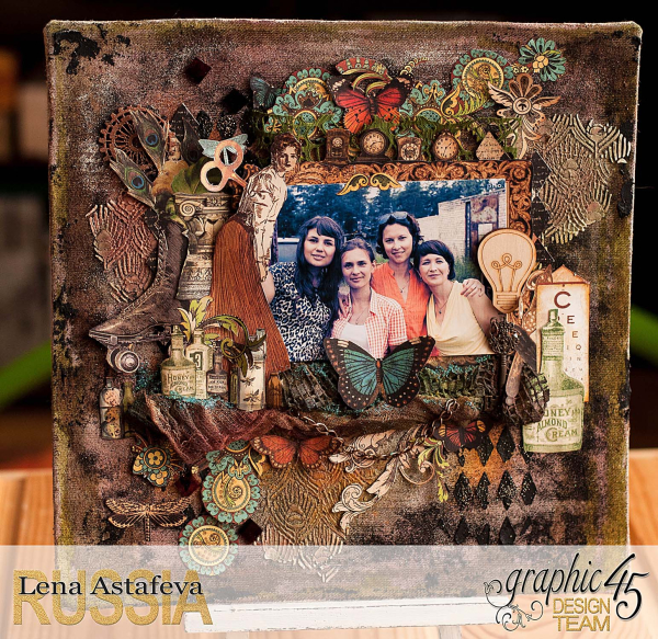 Layout -Olde Curiosity Shoppe- tutorial by Lena Astafeva-product by Graphic 45-8